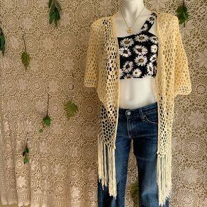 Crochet Fringe Beach Cover Kimono